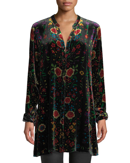 Johnny Was Plus Size Easy Embroidered Velvet Tunic