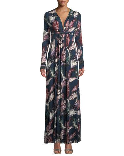 Plus Size Long-Sleeve Feather-Print Long Caftan Dress