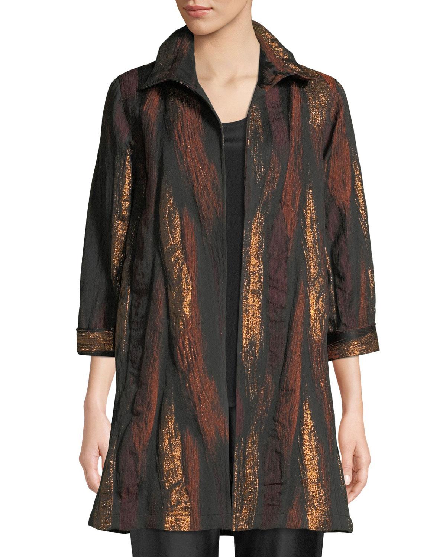 CAROLINE ROSE Gold Rush Jacquard Topper Jacket in Copper/Black