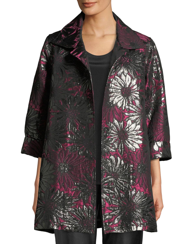 CAROLINE ROSE Center Stage Jacquard Party Jacket in Multi/Black
