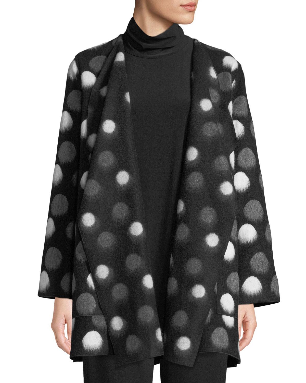 CAROLINE ROSE On The Dot Saturday Topper Jacket, Plus Size in Black/Grey/White