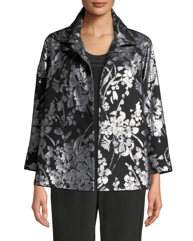 CAROLINE ROSE Make An Entrance Floral Jacquard Jacket, Plus Size in Silver/Black