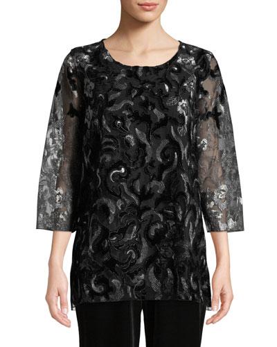 Velvet Lace 3/4-Sleeve Tunic