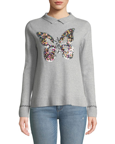 Sequin Butterfly Long-Sleeve Cashmere Sweater, Petite
