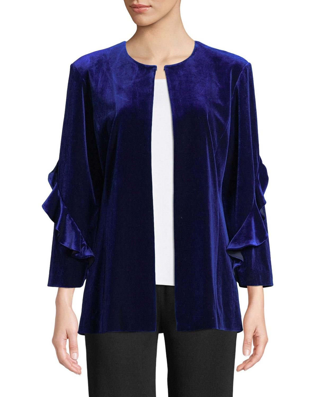 Ruffle-Sleeve Velvet Jacket