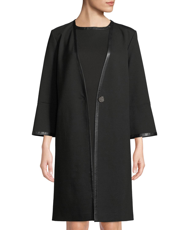MISOOK Bracelet-Sleeve One-Button Long Jacket in Black