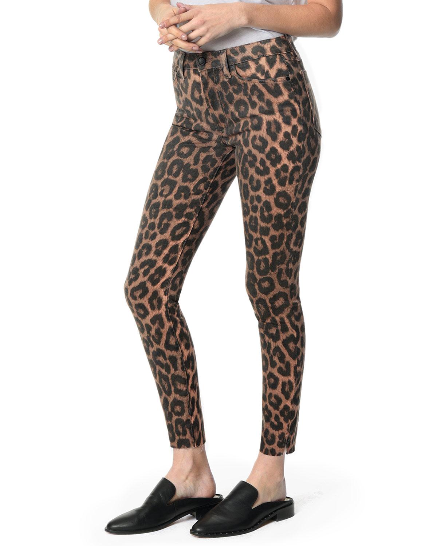 The Charlie Leopard-Print Raw-Hem Skinny Jeans