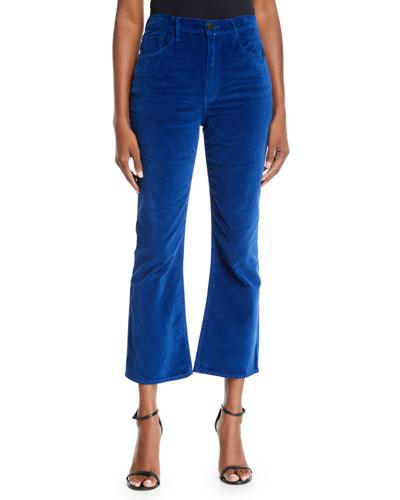Empire Velvet Crop Flare-Leg Jeans