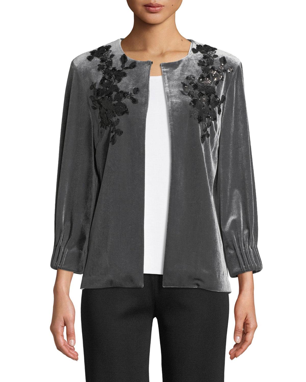Velvet Floral Applique Jacket