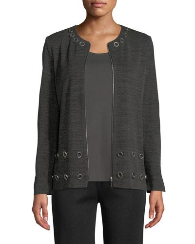 Knit Zip-Front Jacket w/ Grommets, Plus Size