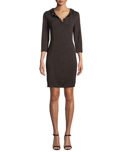 3/4-Sleeve Ruffle-Trim Knit Dress