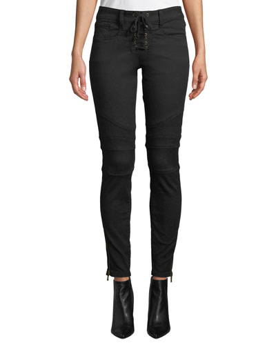 Adorea Skinny Lace-Up Ankle-Zip Moto Pants