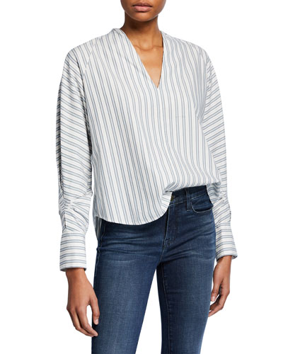 Alessandrina Striped V-Neck Long-Sleeve Top