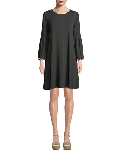 Fluted-Sleeve Swing Dress