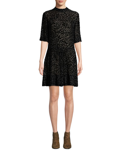 Gia Animal-Print Velvet Burnout Shift Dress