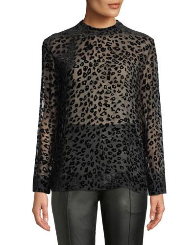 Gia Leopard-Print Velvet Burnout Tee