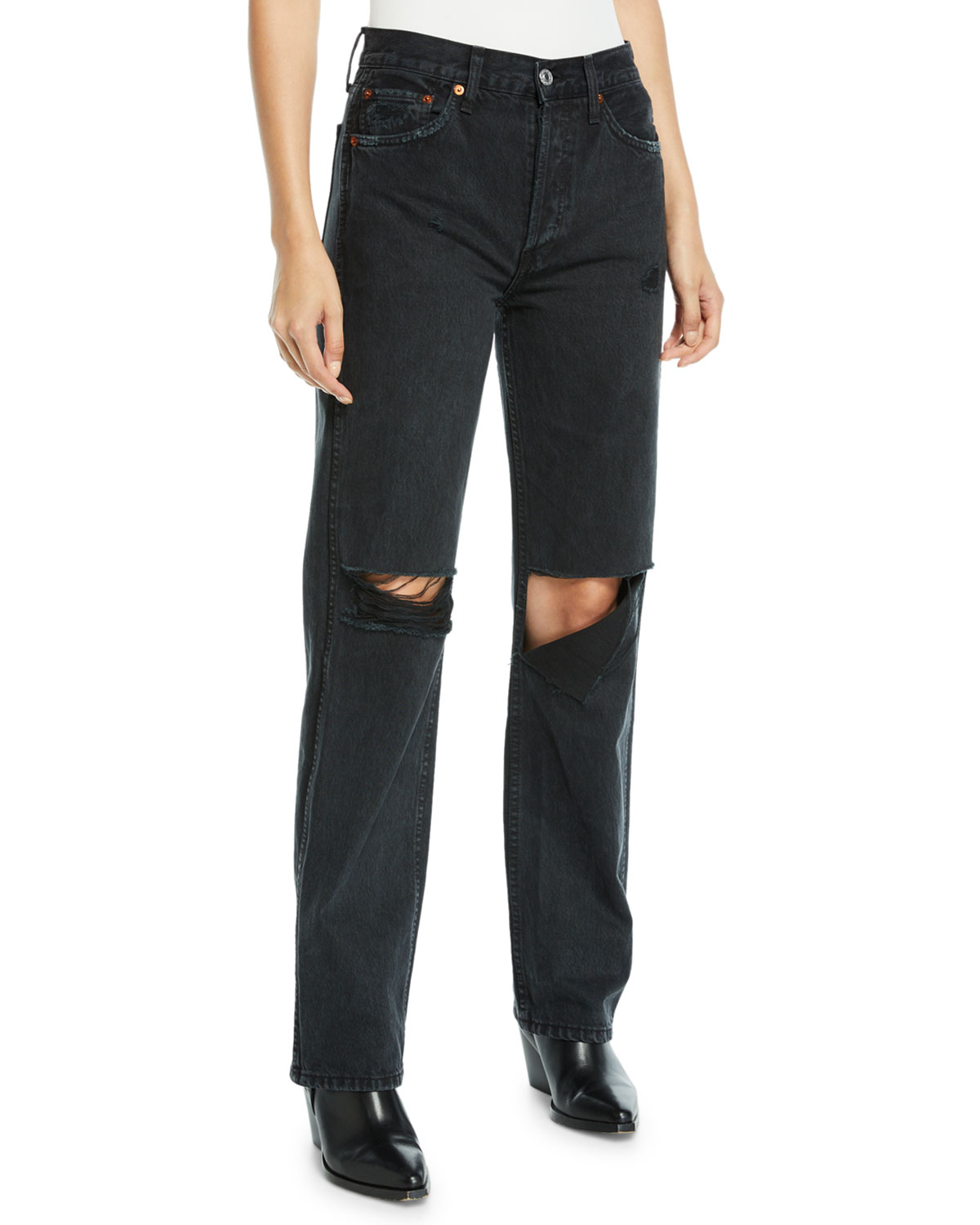 Re/done HIGH-RISE DISTRESSED CROPPED STRAIGHT-LEG JEANS