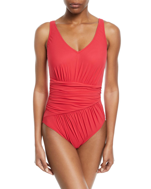 GOTTEX Vista Shirred V-Neck One-Piece Swimsuit in Red