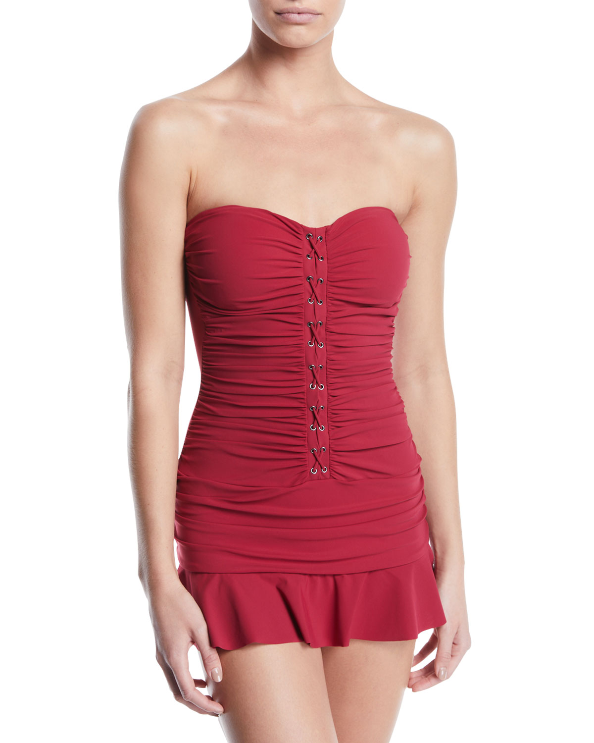 PROFILE BY GOTTEX Moto Ruched Lace-Up Bandeau Swim Dress, Plus Size in Red