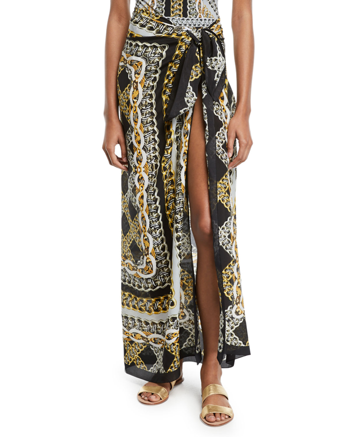 Chains Of Gold Printed Coverup Pareo in Black