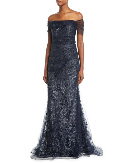 Rickie Freeman for Teri Jon Metallic Lace Off-the-Shoulder Mermaid Evening Gown