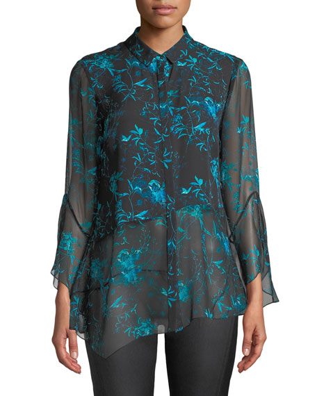 Elie Tahari Layla Floral-Print Silk Blouse