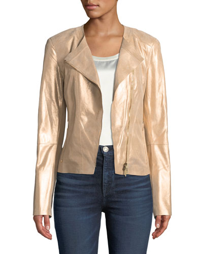 Trista Stardust Glitter Suede Zip-Front Jacket
