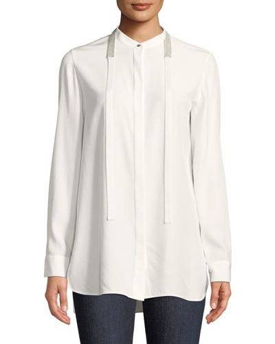 Cayman Tie-Collar Matte Silk Blouse