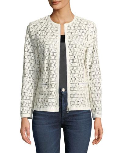 Kerrington Laser-Cut Leather Topper Jacket
