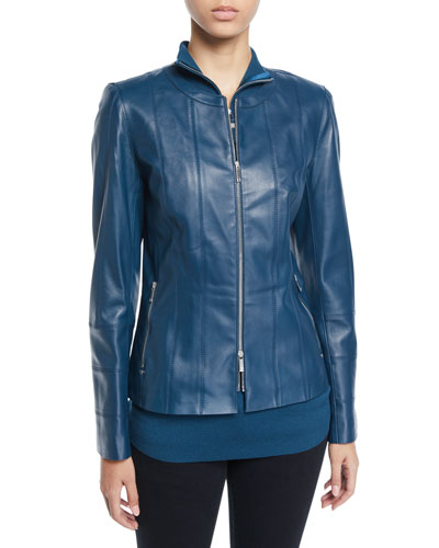 Courtney Zip-Front Lambskin Leather Jacket