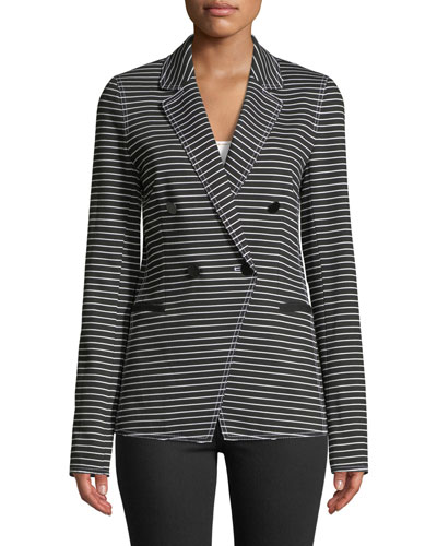 Devin Double-Breasted Striped Twill Jacket