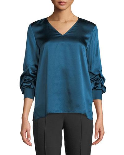 Leland Gathered-Sleeve Silk Blouse, Empress Teal