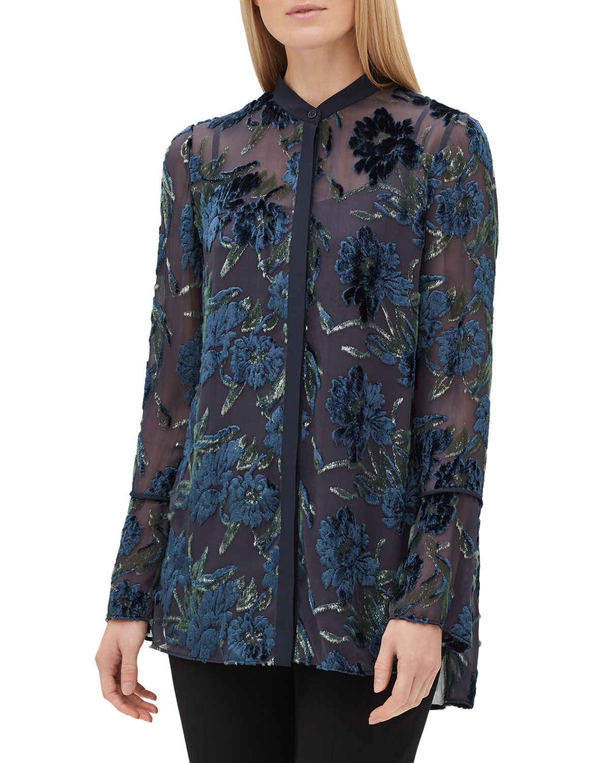 Nicolette Button-Front Long-Sleeve Floral Burnout Elite Panne Blouse in Peacock Multi