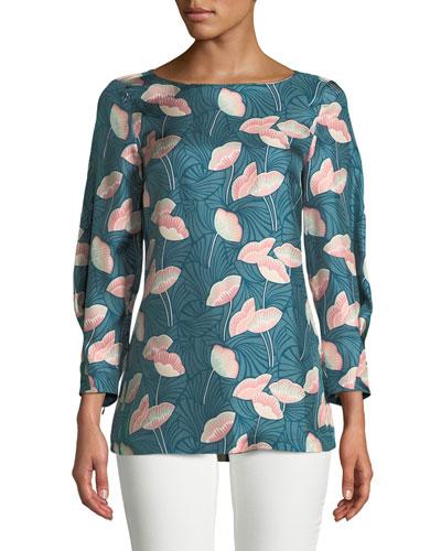 Caddie 3/4-Sleeve Floral Silk Blouse