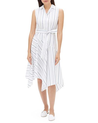 Dandy Solstice Stripe Sleeveless Self-Tie Shirt Dress