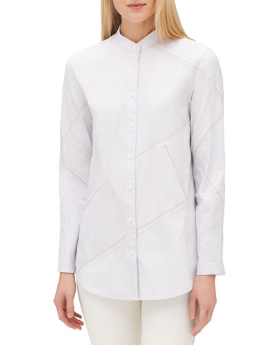 Lenno Streamline Striped Long-Sleeve Button-Front Blouse