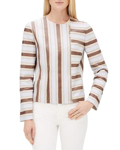 Kaydon Striped Lambskin Leather Zip-Front Jacket