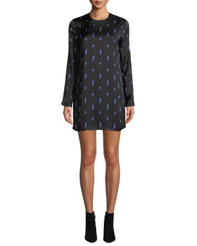 Anjelisa Jewel-Neck Long-Sleeve Lightning-Bolt Print Shift Dress