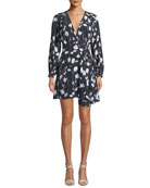 Equipment Alexandria V-Neck Long-Sleeve Abstract Floral-Print