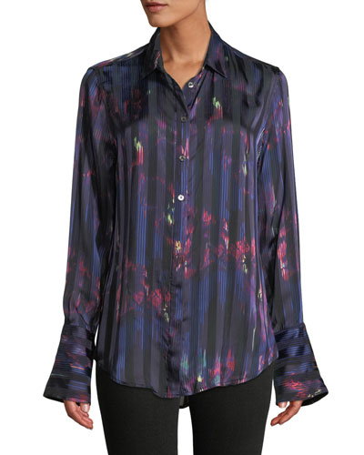 56cf9044308c5 Quick Look. Equipment · Eleonore Button-Front Abstract Striped Silk-Viscose  Blouse