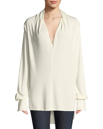 Joslin V-Neck Blouson-Sleeve High-Low Top