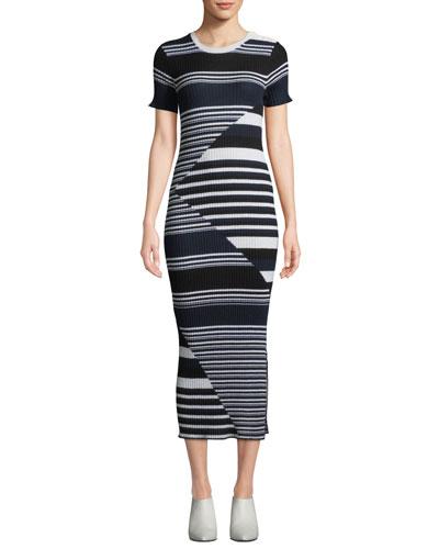 Dewey Short-Sleeve Multi-Striped Merino Wool Sweaterdress