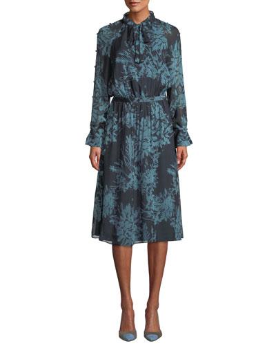 Henriette Mock-Neck Long-Sleeve A-Line Dress