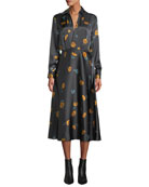 Equipment Vivienne V-Neck Long-Sleeve Floral-Printed Silk Dress