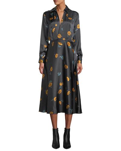 Vivienne V-Neck Long-Sleeve Floral-Printed Silk Dress