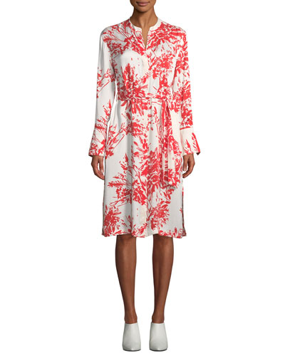 Roseabelle Button-Front Long-Sleeve Abstract Floral-Printed Dress