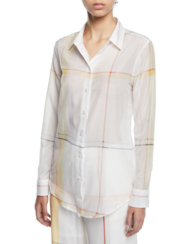 Essential Long-Sleeve Multi-Stripe Silk Blouse