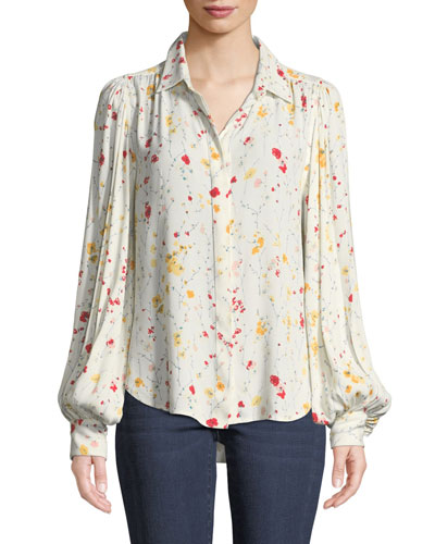 Marcilly Button-Front Floral-Print Blouse
