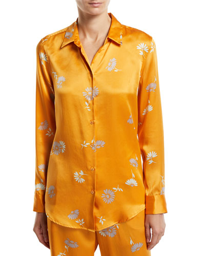 Essential Floral-Print Button-Front Long-Sleeve Silk Blouse