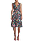 Elie Tahari Jila Floral-Print A-line Dress
